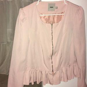 Pink Zip Up Blazer W/ Ruffles